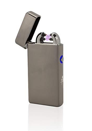 TESLA Lighter T08 Lichtbogen-Feuerzeug, elektronisches USB Feuerzeug, Double-Arc Lighter, wiederaufladbar, Schwarz gebürstet