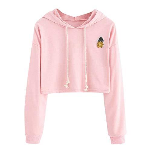TIZUPI Hooded Sport Sweatshirt Damen, Oberteile Teenager Mädchen Hoodie-ApplikationenAnanas SweatshirtKapuzenpullover Kurz Hoodie Sweatshirt Crop Pullover Tops Langarmshirt Bluse (Pink,M