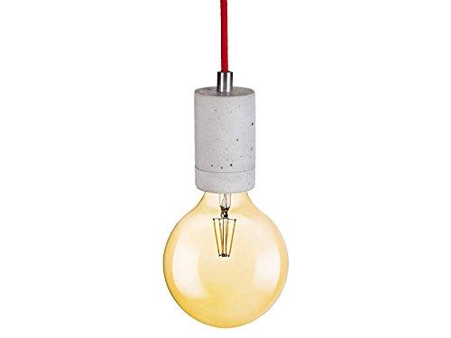 LED Pendelleuchte aus Beton Natur mit LED E27 7W warmweiß von OSRAM - Vintage Hängeleuchte in grau Deckenleuchte für 230V