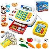 JOYIN Kinder Kasse mit zwei Sprachen, Scanner, Kartenlesegerät und Lebensmittel, Rollenspiel Supermarktkasse für Kleinkinder, Jungen und Mädchen Geschenke