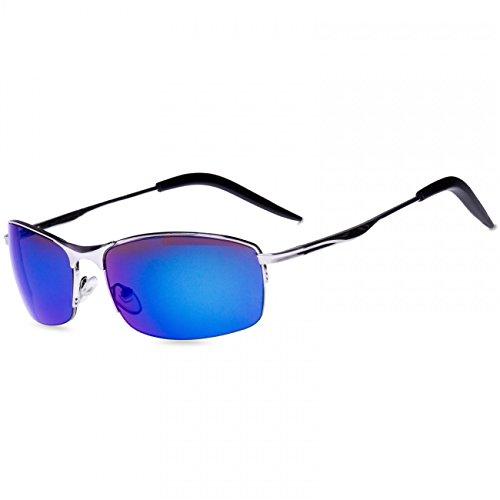 CASPAR SG010 Unisex Matrix Sport Sonnenbrille, Farbe:silber/blau verspiegelt