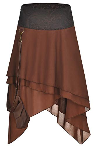 Bslingerie® Damen Gothic Punk Steampunk Braun Kleidung Kurzer Rock (Braun Chiffon, M) (Punk-rock-kleidung Für Frauen)