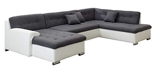 ARBD Wohnlandschaft, Couchgarnitur U-Form, Rocky mit Schlaffunktion 325 x205cm weiß/grau, Ottomane rechts - Couchgarnitur Ottomane