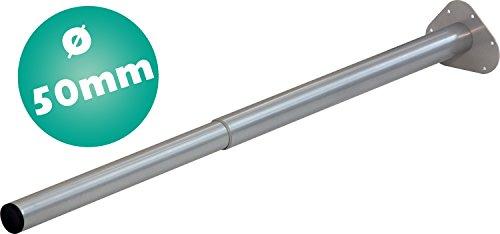 IB-Style - Einzel- Teleskop-Tischbein | ohne Befestigungsschrauben | 6 Variationen | Höhenverstellbar | Ø 50 mm, Form: Rund | Silbermatt | 80-120 cm