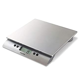 Salter Aquatronic Digital Kitchen Weighing Scales – Stylish Silver Design, Electronic Cooking Scale Appliance for Home and Kitchen, Weigh Food with Accurate Precision in High Capacity up to 10kg + Aquatronic Function for Liquids in ml and fl. oz. 15 Year Guarantee
