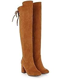 585c791d30f029 SHINIK Frauen Wildleder Overknee Stiefel 2018 Herbst Winter Dick Mit High  Heel Stiefel Große Größe 33