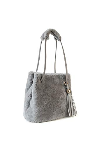 Howoo donne inverno pelliccia ecologica borsa a tracolla felpa borsetta soffice borsa della benna nappa borsa a tracolla grigio