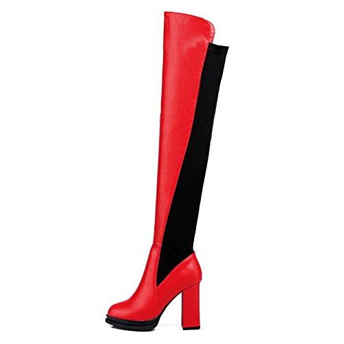 AgooLar Damen Blend-Materialien Hoher Absatz Gemischte Farbe Hoch-Spitze Ziehen Auf Stiefel Rot