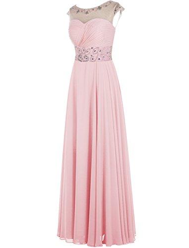 Dresstells Damen Bodenlang Jugendlich Brautjungfernkleider Abendkleider Burgundy