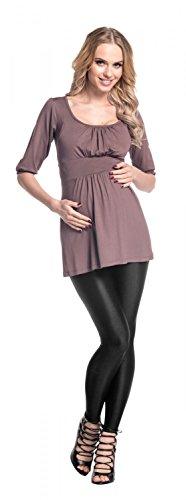 Happy Mama Damen Umstandsmoden Tunika Umstandtop Shirt mit 3/4-Arm 940p Cappuccino
