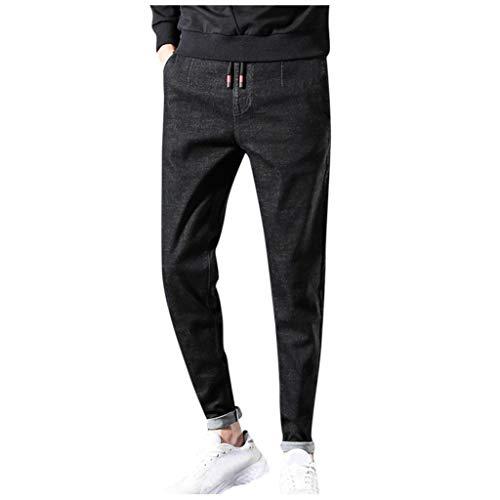 Pantaloni Jeans da Uomo Invernali Softshell Outdoor Trend Slim Dritti Nuovi Tasca Tasche Bloomers Denim Solido Coulisse Elasticizzati Casual Lavato con Playsuit Fitness Elegante