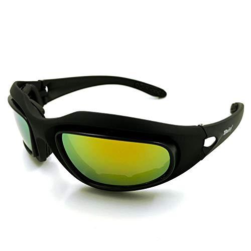 Gläser Schutzbrille Polarisierte Brille CS Tactical Night Vision Sandstorm-Sport für Männer und Frauen Brillen (Color : Schwarz, Size : One Size)