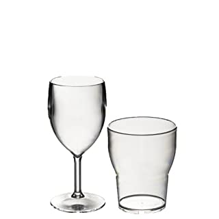 Roltex PICNIC SPECIAL OFFER Set of 6 Unbreakable Reusable Polycarbonate Plastic SMALL Wine Glasses (200ml/ 7oz to rim) Plus 6 Roltex Tulip Stacking Tumblers(250ml / 8.8fl oz to rim)
