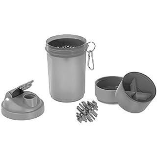 PEARL sports Fitness-Shaker-Flasche: Fitness-Drink-Shaker mit 2 Pulverkammern & Mischball, 500 ml, BPA-frei (Becher für Fitness Shakes)