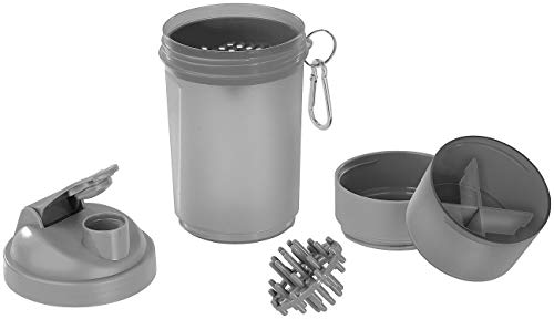 PEARL sports Protein Shaker: Fitness-Drink-Shaker mit 2 Pulverkammern & Mischball, 500 ml, BPA-frei (Fitness-Shaker-Flasche) Tasse Pearl