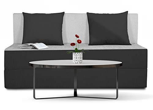 Adorn india Easy Two Seater Sofa Cum Bed (3 Years Warrenty Quality Foam)-Perfect for Seat & Sleep Washeble Polyster Fabric Cover (Black & Grey) 4'x6'.Pillows Free