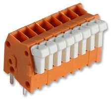 TERMINAL BLOCK, WIRE TO BRD, 8POS, 20AWG 234-508. By WAGO