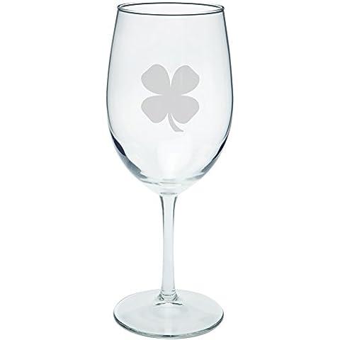 Día de San Patricio - trébol grabado al agua fuerte el vidrio de vino