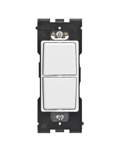 Leviton Renu Single Pole Combination Switch RE634-WW, 15A-120/277VAC, in White on White by Leviton