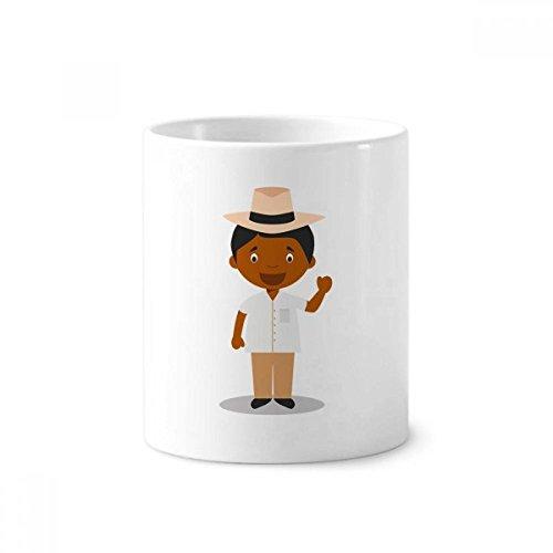 DIYthinker Hat Schwarz Kuba Cartoon Keramik Zahnbürste Stifthalter Tasse Weiß Cup 350ml Geschenk 9.6cm x 8.2cm hoch Durchmesser