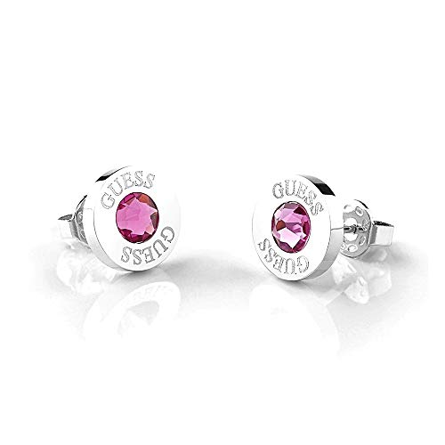 Pendientes Guess Shiny Crystals rosa acero inoxidable