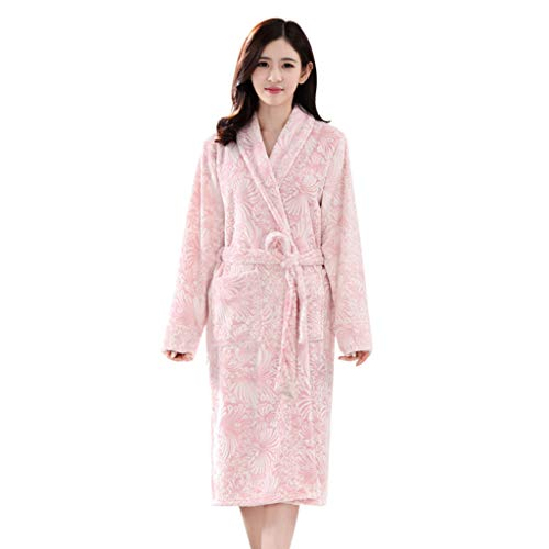KPILP Paar Bademantel verlängert Dicke warme Morgenmantel Spleißen Home Kleidung langärmelige Nachtwäsche Mantel Winter Fleecebademantel Handtuch(Rosa,EU-48/CN-M)