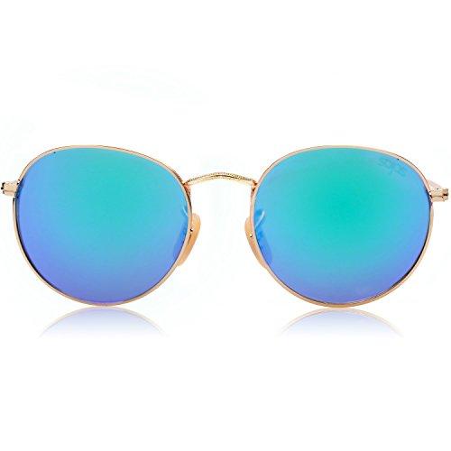 SojoS Ronde Vintage Rétro Miroir Anti-UV Lunettes de Soleil Unisexe Polarisées SJ1014 Cadre/Vert Lentille BvNPEdHG9i