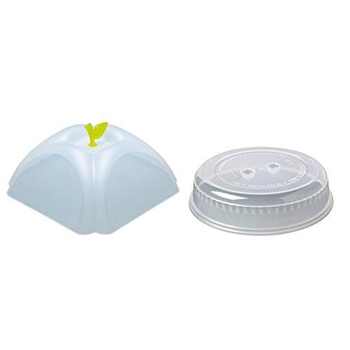 2er-Set Mikrowellenhaube Mikrowellenabdeckhaube Tellerabdeckung mit ca. 26 cm und ca. 25 cm für die Mikrowelle mit Variante hoch. Beide Mikrowellendeckel sind BPA-frei (TransparentGruen)