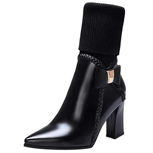 Maleya High Heel Spitzen Kopf warme Damenstiefel Bogen Wolle Stiefel Ferse Schuhe Arch Support Boots Aufladungen Leder Retro Papa Stiefel National Knöchel Plattform
