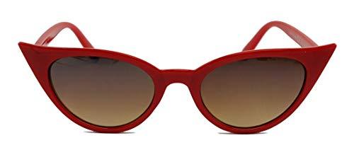 50er Jahre Damen Sonnenbrille Cat Eye Form Katzenaugen Modell FARBWAHL 73 (Rot)