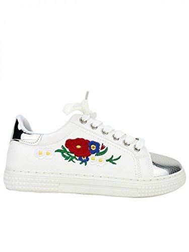 Cendriyon, Baskets Blanche FLORA DESIGN Chaussures Femme Blanc