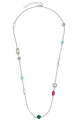 JEWELS BY LEONARDO Damen-Halskette Chiaro, Edelstahl mit bunten Glassteinen und Schliffkristallen, mit Karabinerverschluss, Länge 650 mm, 016825