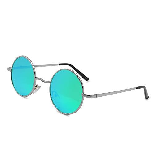 AMZTM Runde Sonnenbrille Retro Klassisch Vintage Mode Metallrahmen Klein Kreis Polarisierte Damen Herren Verspiegelt Fahren Brillen UV 400 Schutz (Silber Rahmen Grün Linse, 46)