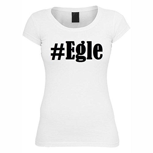 T-Shirt #Egle Hashtag Raute für Damen Herren und Kinder ... in den Farben Schwarz und Weiss Weiß