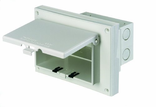 Arlington DBHR151W-1 Horizontal Electrical Box with Weatherproof Cover for Existing Rigid Siding, 5/8-Inch Lap, White by Arlington Industries -