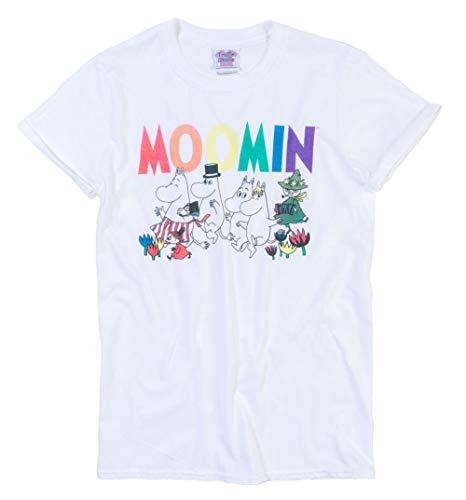 Womens Moomins Rainbow Logo White Boyfriend Fit Rolled Sleeve T Shirt -
