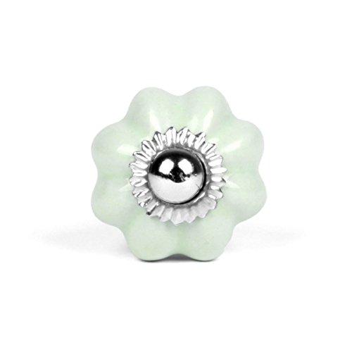Pomo–Estrella–Pequeño, cerámica, verde menta, Gewindelänge: 6cm,...