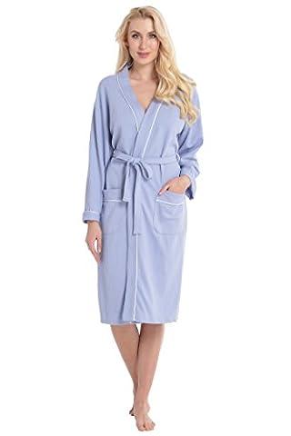 Aibrou Unisexe Kimono Tissage Gaufré Femme Peignoir de Bain femme homme 100% Coton Waffle Robe de Chambre col V Pyjama Pour l'hôtel Spa Sauna Vêtements de nuit( Bleu
