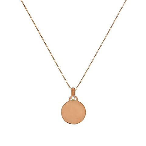 9ct Rose Gold Small Engravable Circle Pendant on 18 Inches Chain