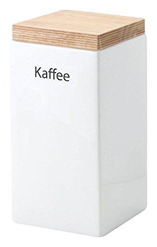 Continenta Kaffee Vorratsdose aus Keramik, quadratisch, mit Holzdeckel, luftdichter...