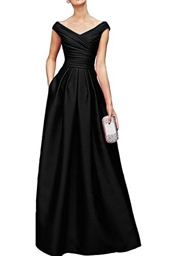 Gorgeous Bride Elegant Lang V-Ausschnitte Empire Satin Cocktailkleid Partykleid Festkleid Schwarz