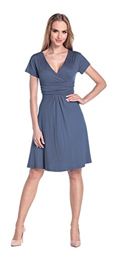 Glamour Empire Flattering Dress 108 - Patineuse - Femme Bleu Gris