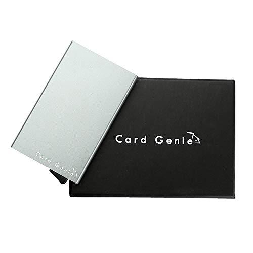 Card Genie - Kartenetui aus Edelstahl mit Karten-Gleitsystem - Kreditkartenhülle mit RFID und NFC Blocker - Schutz vor Datendiebstahl - dünner Kartenhalter für 6 Karten