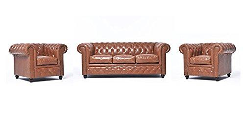 Original Chesterfield Sofa und Sessel – 1 / 1 / 3 Sitzer – Vollständig Handgewaschenes Leder – Vintage Mokka