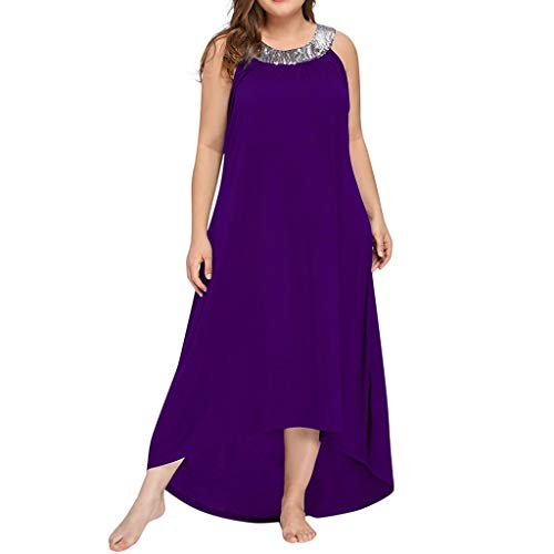 66a40143fb5 VECDY Plus Size Party Dresses for Women, Summer Casual Loose Solid  Sleeveless Round Collar with