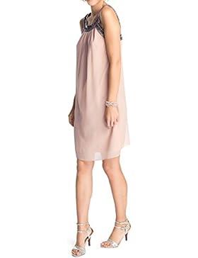 ESPRIT Collection Damen Kleid crinkle chiffon, Knielang, Einfarbig