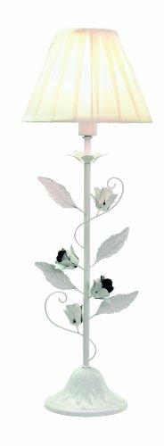 Best Season 156-88 Rosetta-1 - Lámpara de mesa, 1 luminaria, aprox. 60 x 20 cm, cartón coloreado, blanco antiguo con rosas