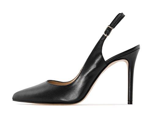 Soireelady Damen Slingback Pumps,Spitz Sandalen Stiletto High Heel,10cm Hohe Absätze Damenschuhe Schwarz 38 -