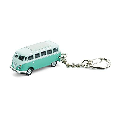 Schlüsselanhänger mit Modellauto für alle Auto- und Oldtimerfans – Kultauto VW Bus T1 Samba Bulli türkis (Bully Ringe)