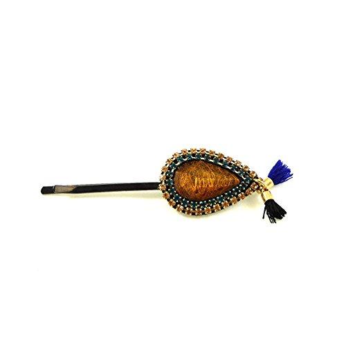 rougecaramel - Accessoires cheveux - Mini pince cheveux fantaisie strass et pompom - orange